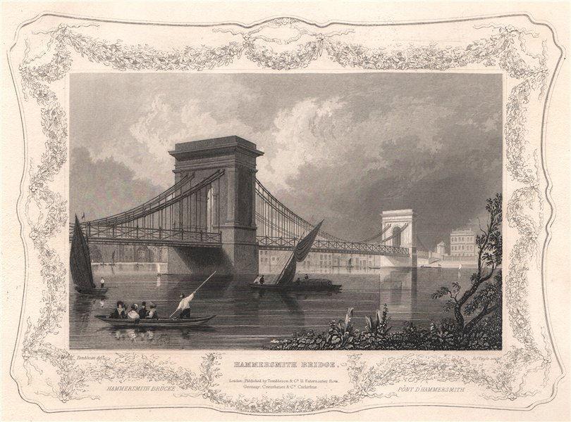 Associate Product 'Hammersmith Bridge '. London. Decorative view by William TOMBLESON 1835 print