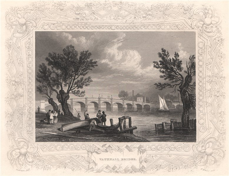 Associate Product 'Vauxhall Bridge'. London. Decorative view by William TOMBLESON 1835 old print
