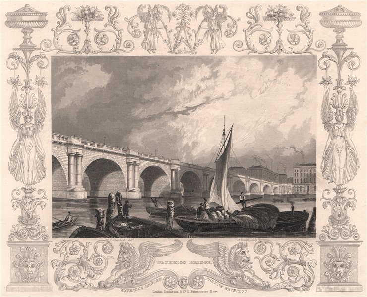 Associate Product 'Waterloo Bridge'. London. Decorative view by William TOMBLESON 1835 old print