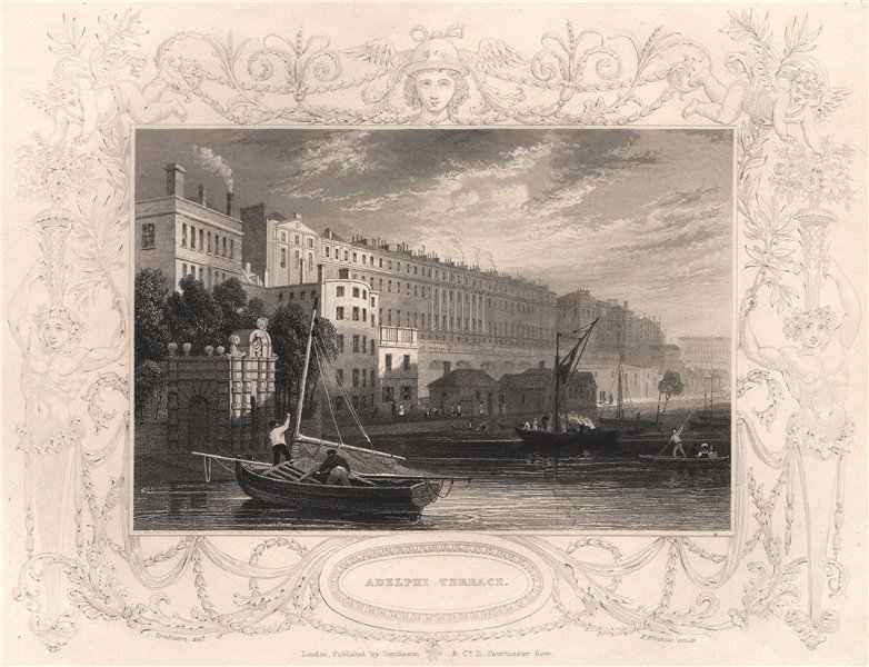 'Adelphi Terrace'. London. Decorative view by William TOMBLESON 1835 old print