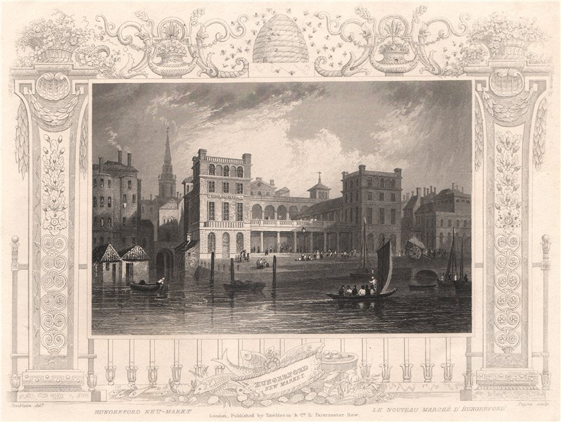 Associate Product 'Hungerford New Market'. London. Decorative view by William TOMBLESON 1835
