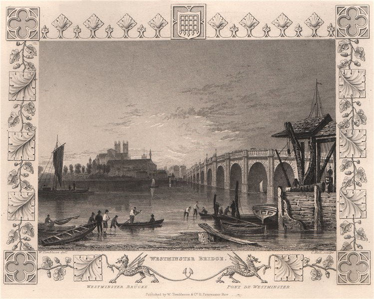 Associate Product 'Westminster Bridge'. London. Decorative view by William TOMBLESON 1835 print