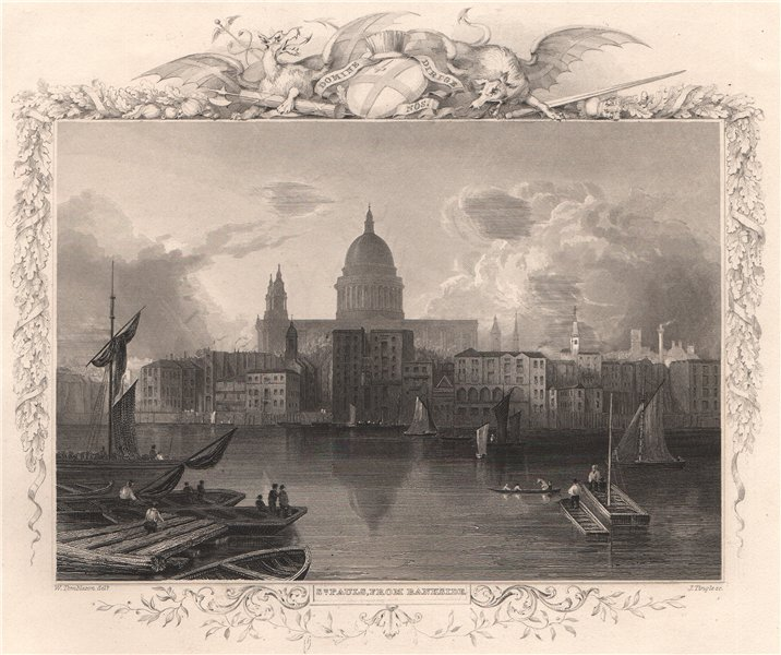 Associate Product 'St. Pauls, from Bankside '. London. Decorative view by William TOMBLESON 1835