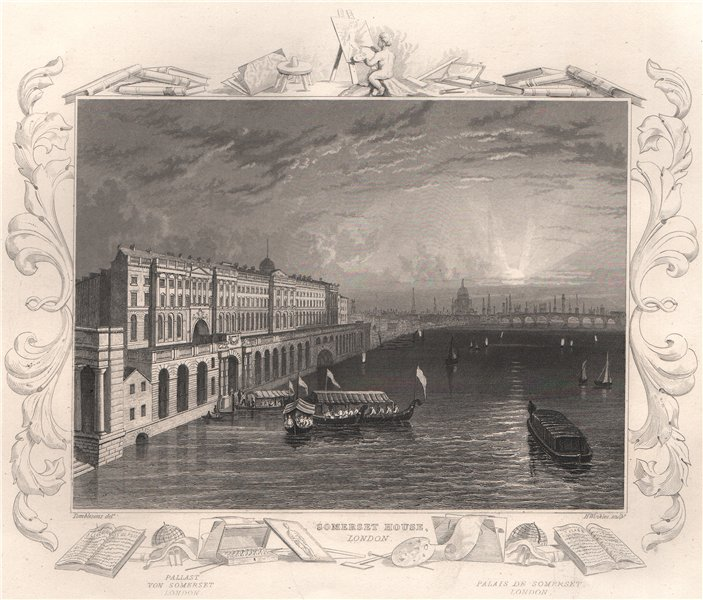 Associate Product 'Somerset House, London'. Decorative view by William TOMBLESON 1835 old print