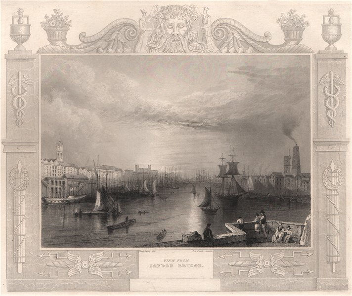 Associate Product 'View from London Bridge'. Decorative view by William TOMBLESON 1835 old print