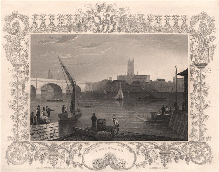 Associate Product 'Southwark'. London. Decorative view by William TOMBLESON 1835 old print
