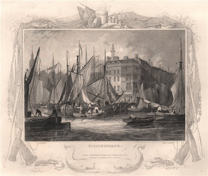 Associate Product 'Billingsgate'. London. Decorative view by William TOMBLESON 1835 old print