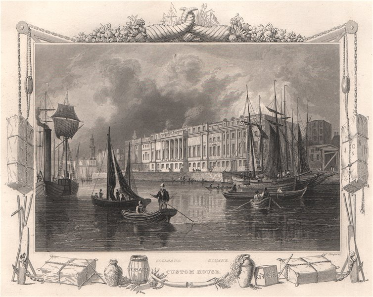 Associate Product 'Custom House'. London. Decorative view by William TOMBLESON 1835 old print