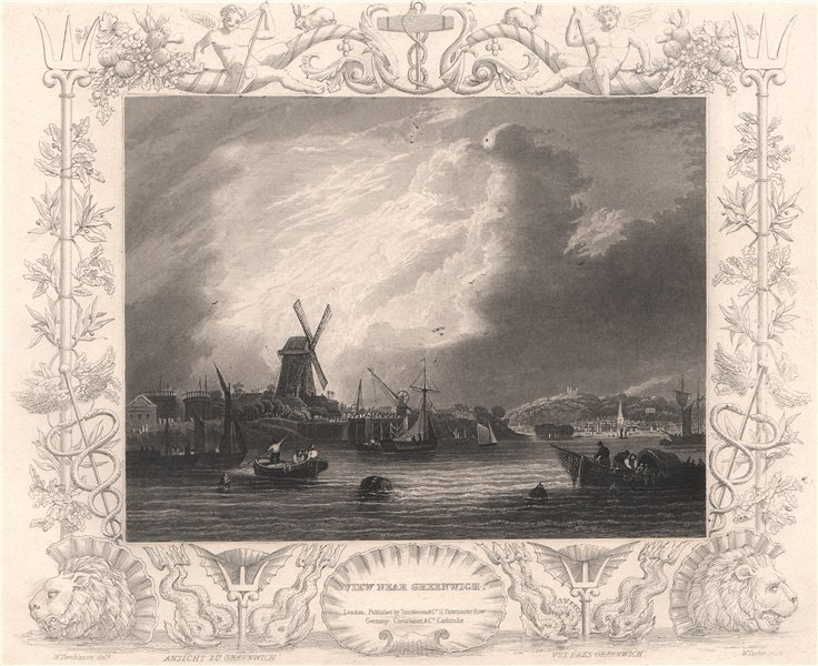 Associate Product 'View near Greenwich'. London. Decorative view by William TOMBLESON 1835 print