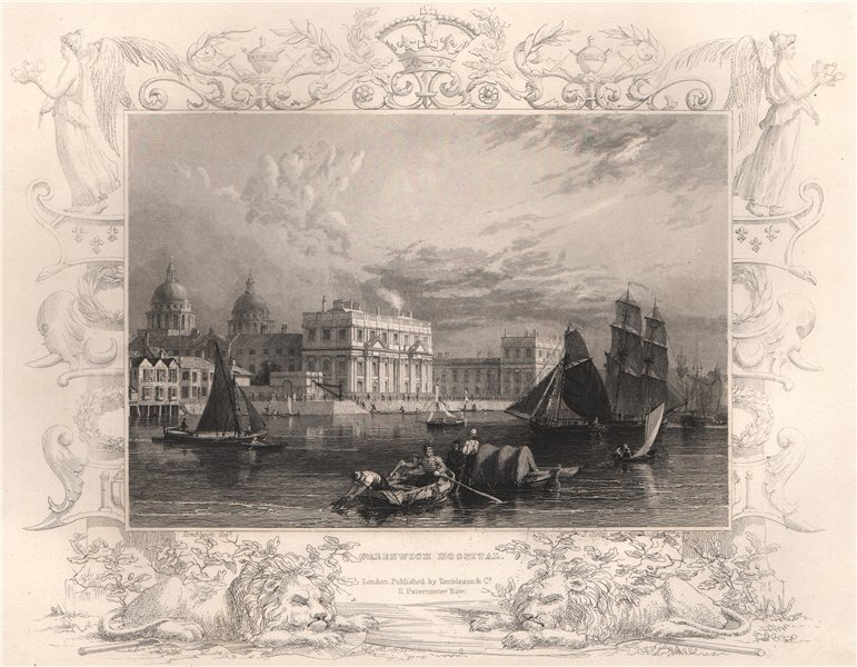 Associate Product 'Greenwich Hospital'. London. Decorative view by William TOMBLESON 1835 print