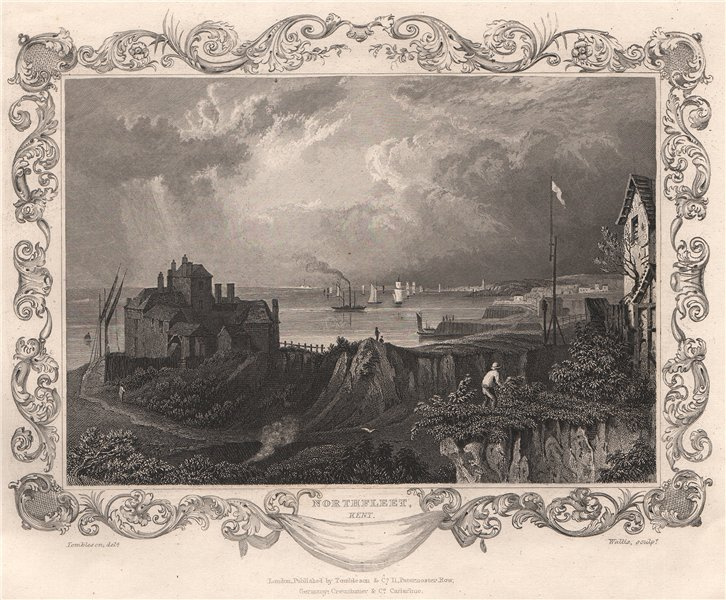 Associate Product 'Northfleet, Kent'. Decorative view by William TOMBLESON 1835 old print
