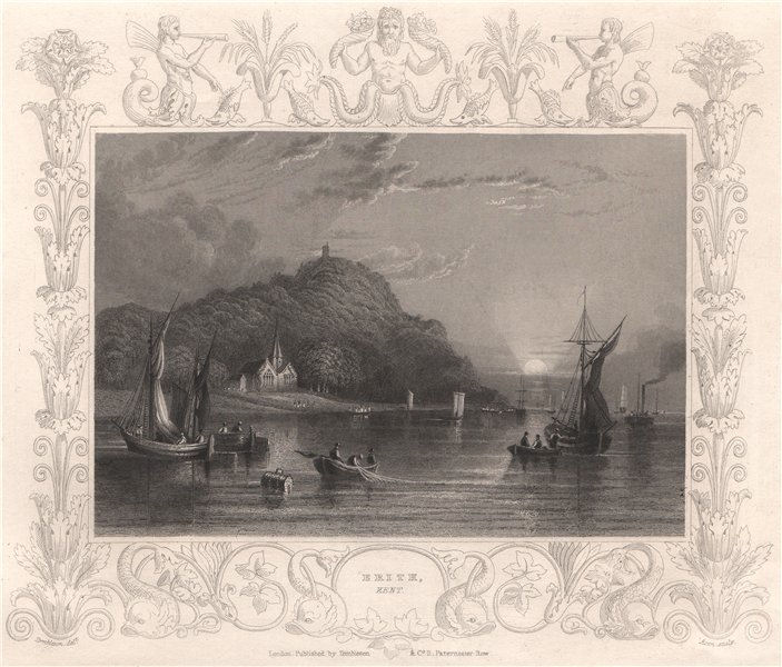 Associate Product 'Erith, Kent'. Decorative view by William TOMBLESON 1835 old antique print