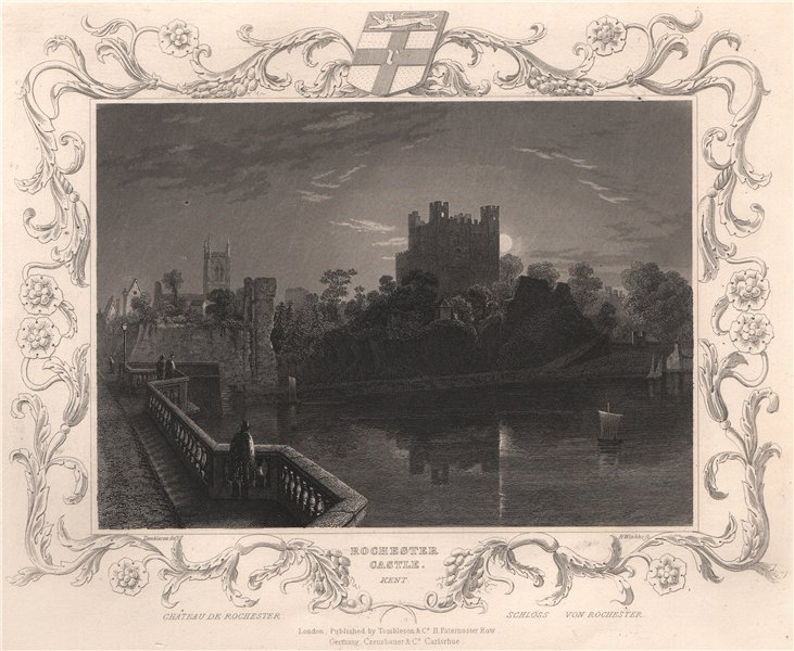 Associate Product 'Rochester Castle, Kent'. Decorative view by William TOMBLESON 1835 old print