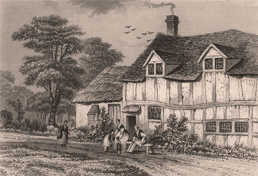 Associate Product Birthplace of John Bunyan, Elstow, Bedfordshire. DUGDALE 1845 old print