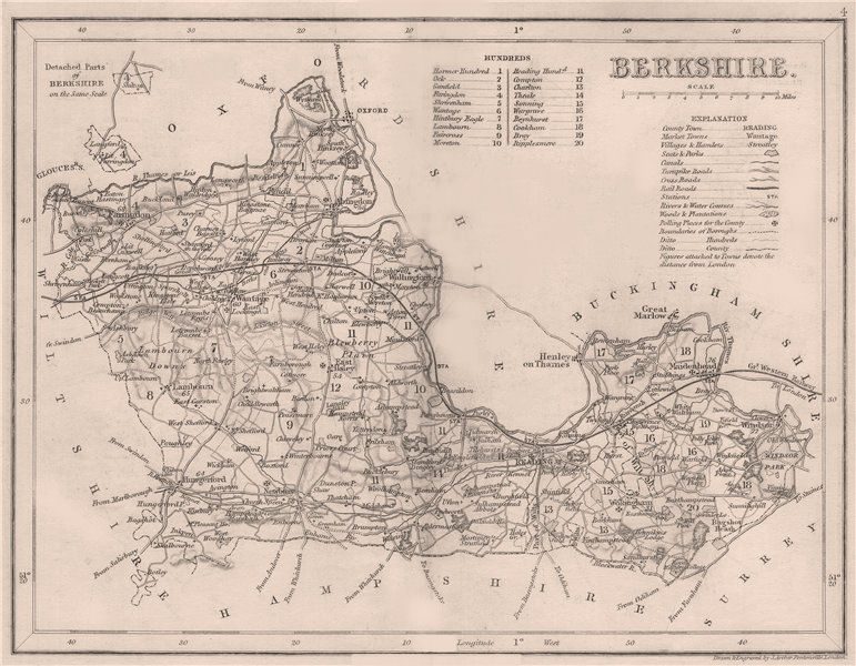 Associate Product BERKSHIRE county map by DUGDALE/ARCHER. Canals polling places exclaves 1845