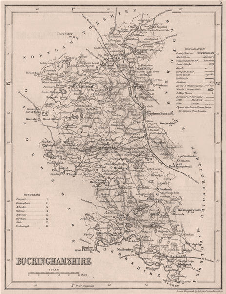BUCKINGHAMSHIRE county map. DUGDALE/ARCHER. Seats canals polling places 1845