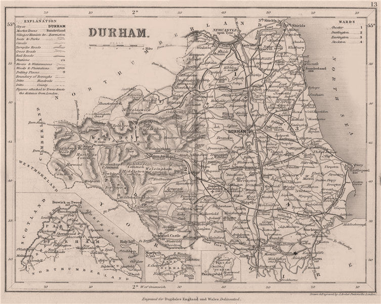 Associate Product DURHAM county map w/ exclaves. DUGDALE/ARCHER. Seats polling places 1845