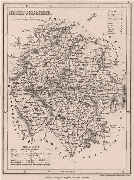 Associate Product HEREFORDSHIRE county map by DUGDALE/ARCHER. Seats canals polling places 1845