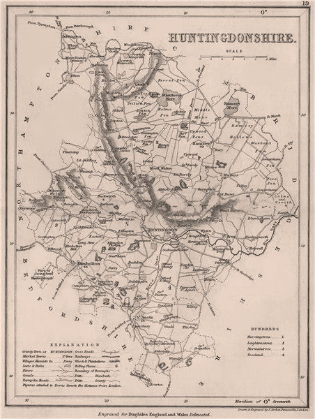 Associate Product HUNTINGDONSHIRE county map. DUGDALE/ARCHER. Seats canals polling places 1845