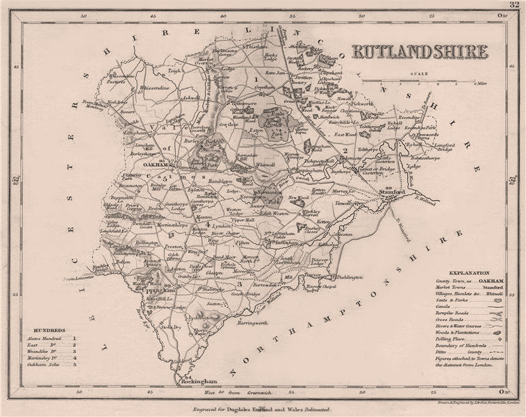 Associate Product RUTLANDSHIRE county map by DUGDALE/ARCHER. Seats canals polling places 1845