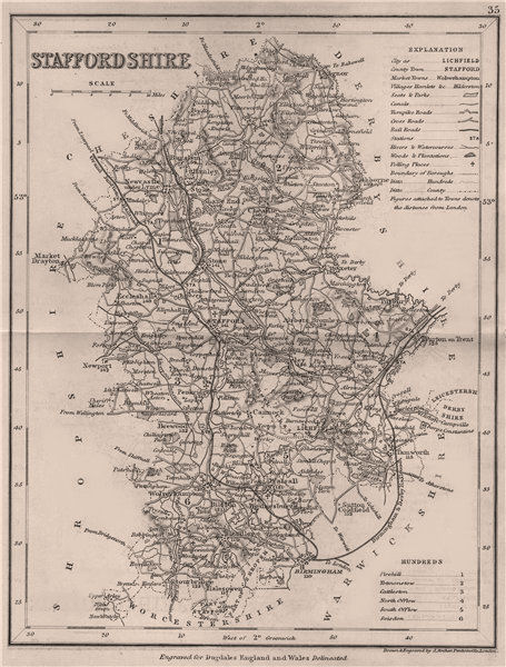 Associate Product STAFFORDSHIRE county map by DUGDALE/ARCHER. Seats canals polling places 1845