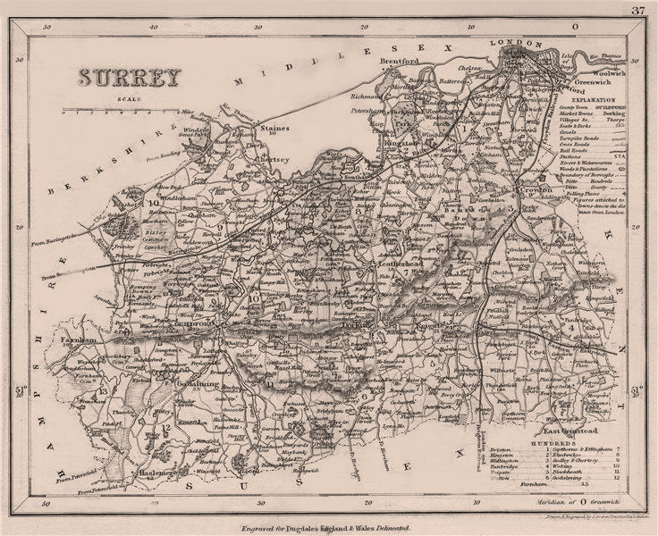 Associate Product SURREY county map by DUGDALE/ARCHER. Seats canals polling places 1845 old