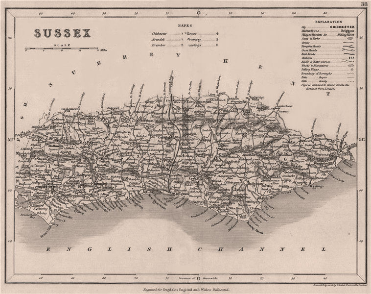 SUSSEX county map by DUGDALE/ARCHER. Seats canals polling places 1845 old