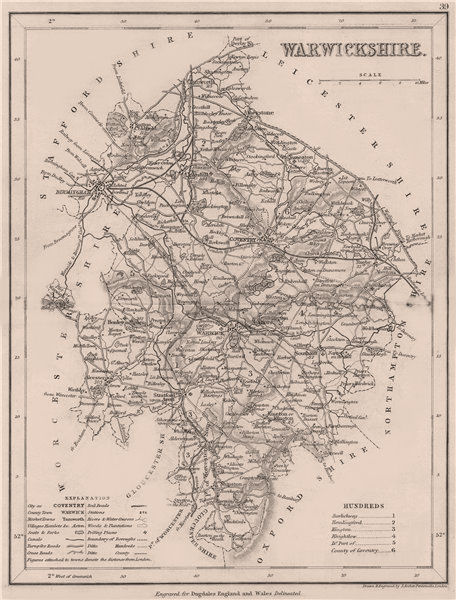 Associate Product WARWICKSHIRE county map by DUGDALE/ARCHER. Seats canals polling places 1845