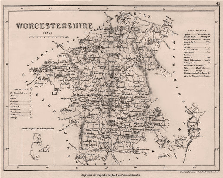 WORCESTERSHIRE county map. DUGDALE/ARCHER. Seats canals polling places 1845