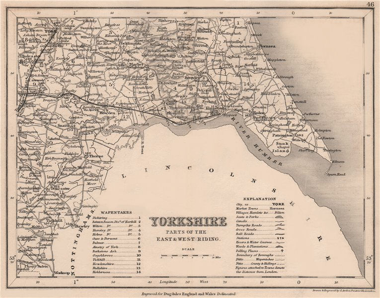 Associate Product YORKSHIRE, SOUTH EAST county map showing wapentakes by DUGDALE/ARCHER 1845