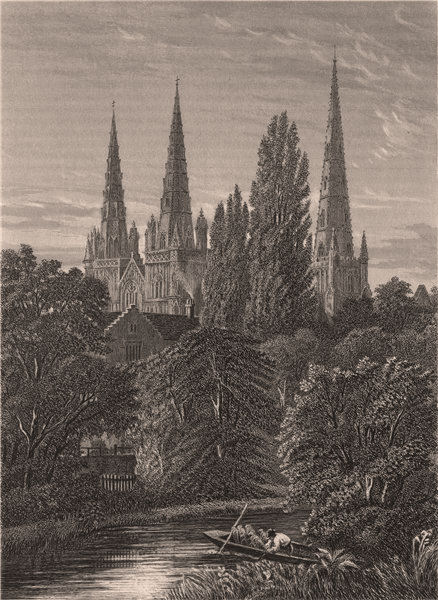 Associate Product Lichfield Cathedral, Staffordshire 1898 old antique vintage print picture