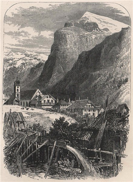 Associate Product Engelberg and the Titlis, Switzerland 1891 old antique vintage print picture