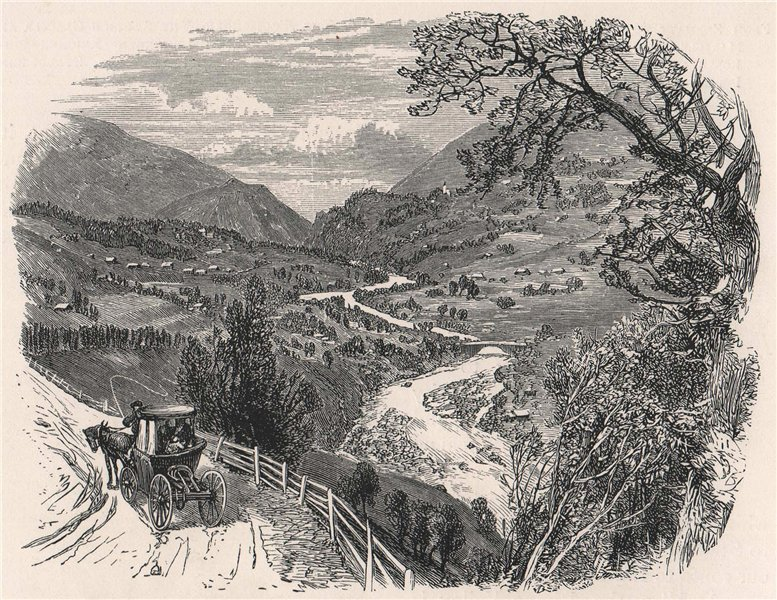 Associate Product Fiesch, and the upper Rhone Valley, Switzerland 1891 old antique print picture