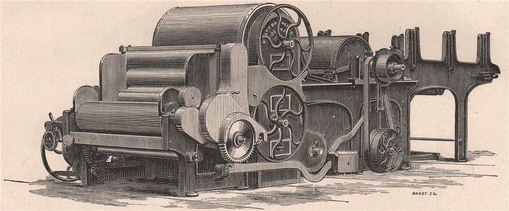 Associate Product TEXTILE MANUFACTURE. Single Scutcher and Lap Machine 1898 old antique print