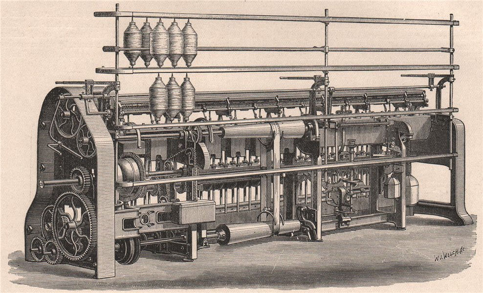Associate Product TEXTILE MANUFACTURE. Roving Frame 1898 old antique vintage print picture