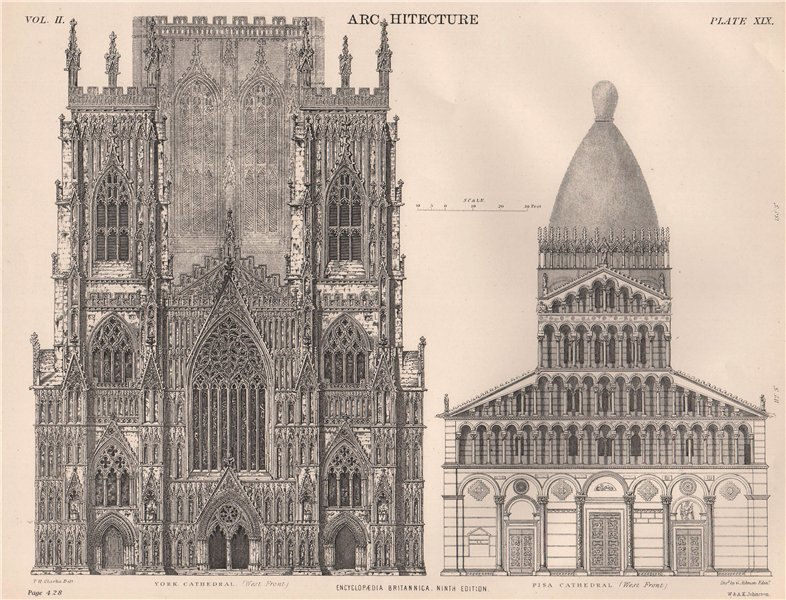 Associate Product ARCHITECTURE. York Cathedral (west front); Pisa Cathedral. (west front) 1898