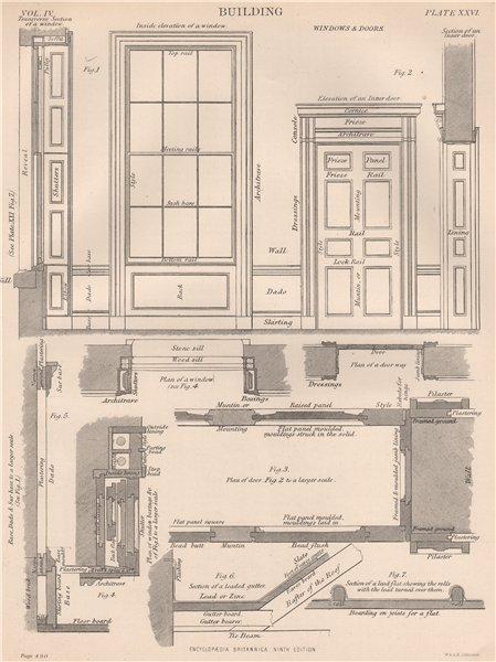 Associate Product BUILDING. Windows & doors 1898 old antique vintage print picture