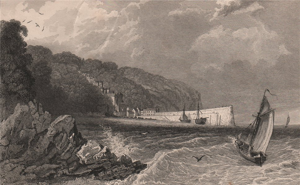Associate Product CLOVELLY, North Devon. Decorative view by William TOMBLESON 1829 old print