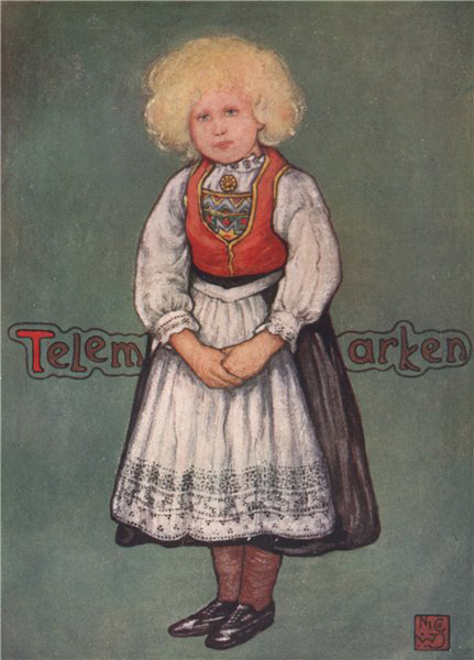 Associate Product TELEMARK. 'Little girl' by Nico Jungman. Norway 1905 old antique print picture