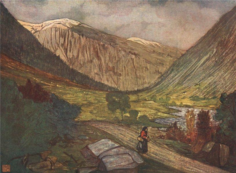 Associate Product GJØRA Gjora. 'Mountain and river' by Nico Jungman. Norway 1905 old print