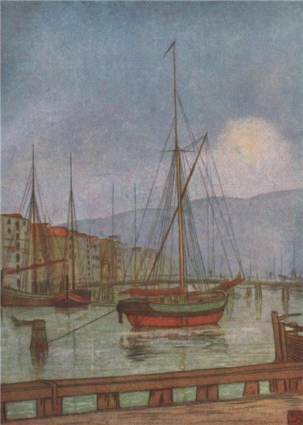 Associate Product TRONDHEIM. 'Ostre Kanalhavn' by Nico Jungman. Norway 1905 old antique print