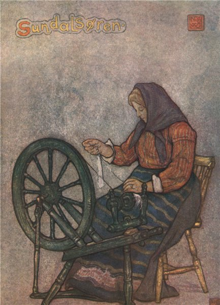 Associate Product SUNNDALSØRA Sunndalsora. Woman spinning by Nico Jungman. Norway 1905 old print