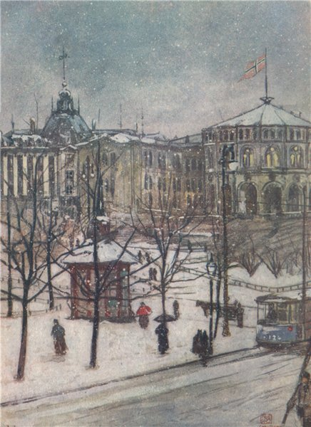Associate Product OSLO. Stortinget. 'Houses of Parliament' by Nico Jungman. Norway 1905 print