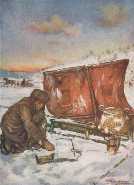 Associate Product OSLO FJORD. Fishing through the ice by Nico Jungman. Norway 1905 old print