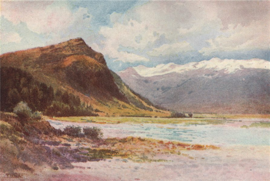 Associate Product OTAGO REGION. 'Lake Wakatipu' by Frank Wright. New Zealand 1908 old print