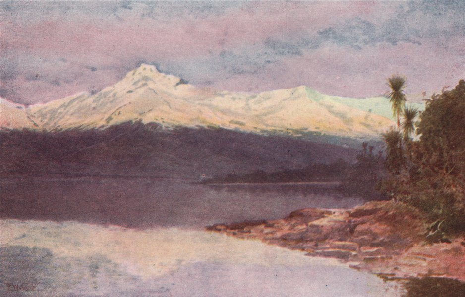 Associate Product 'Diamond Lake' by Frank Wright. New Zealand 1908 old antique print picture