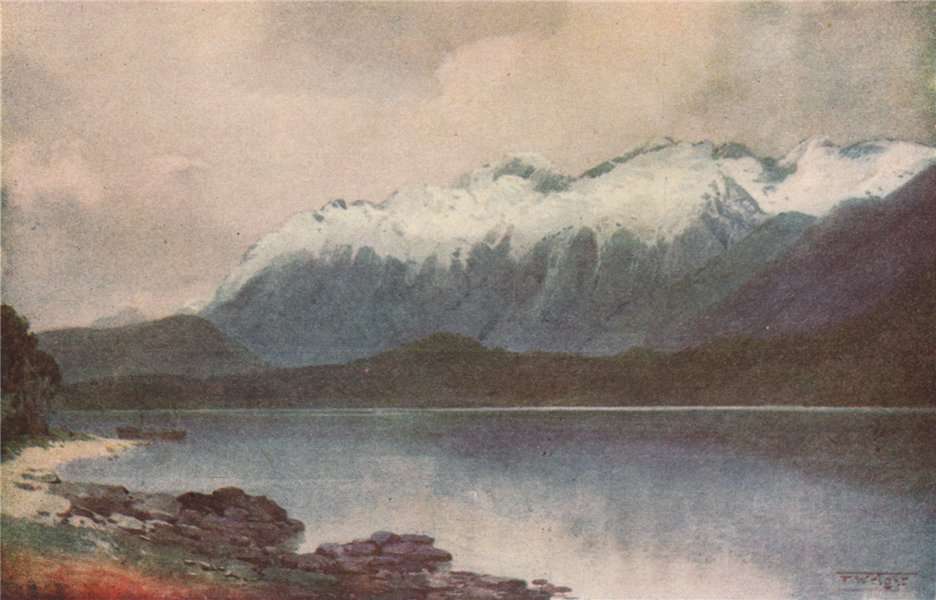 Associate Product FIORDLAND. 'Cathedral Peaks' by Frank Wright. New Zealand 1908 old print