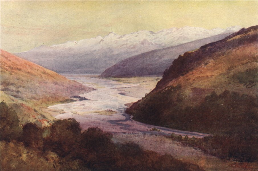 Associate Product 'Rees Valley and Richardson Range' by Frank Wright. New Zealand 1908 old print