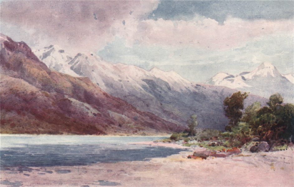 Associate Product 'At the head of Lake Wakatipu' by Frank Wright. New Zealand 1908 old print