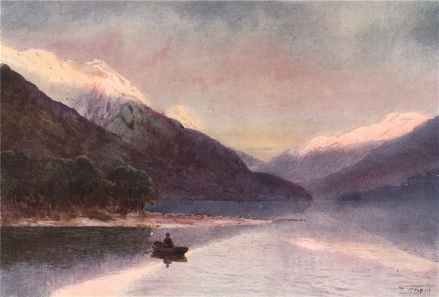 Associate Product 'North Fiord, Lake Te-Anau' by Frank Wright. New Zealand 1908 old print
